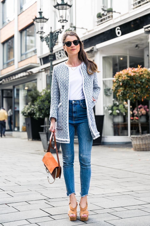 that coat zara outfit fashion blog platform sandals chloe faye bag casual chic style