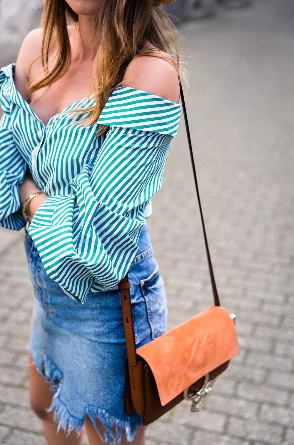 off shoulder blouse green outfit denim skirt hat summer chloe faye bag fashion blog