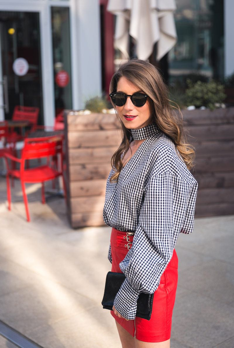 red skirt vichy check shirt clutch ray ban sunglasses sandals outfit inspiration spring 2017