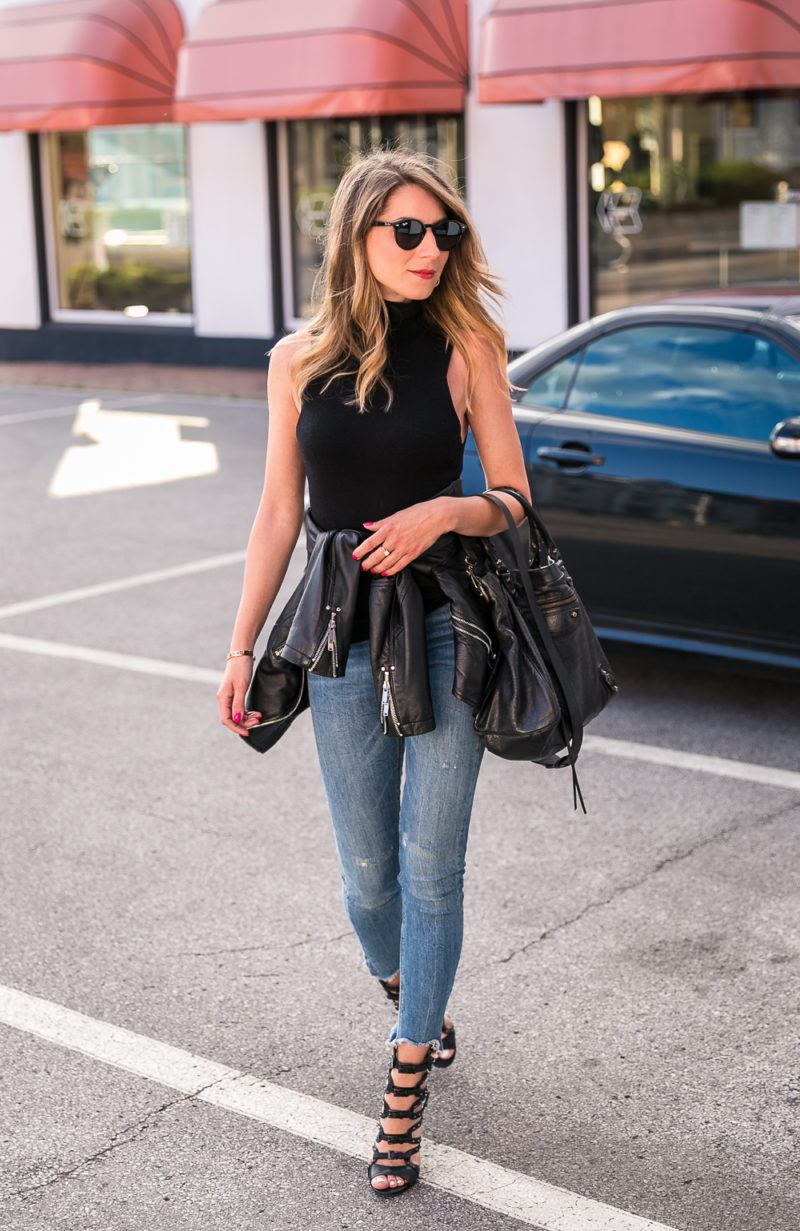 turtleneck top outfit simple summer skinny jeans heels