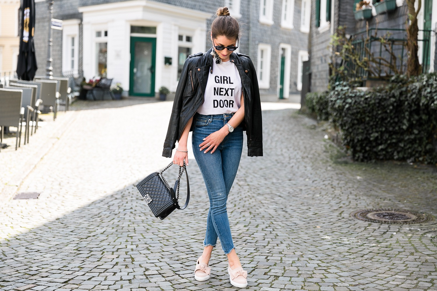 slip-ons outfit skinny jeans bandana leatherjacket t-shirt chanel boy bag