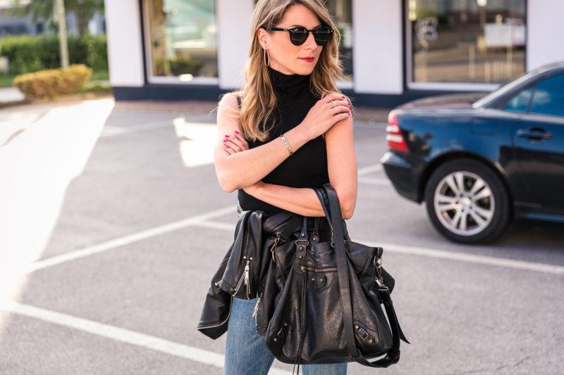 turtleneck top outfit simple summer skinny jeans heels