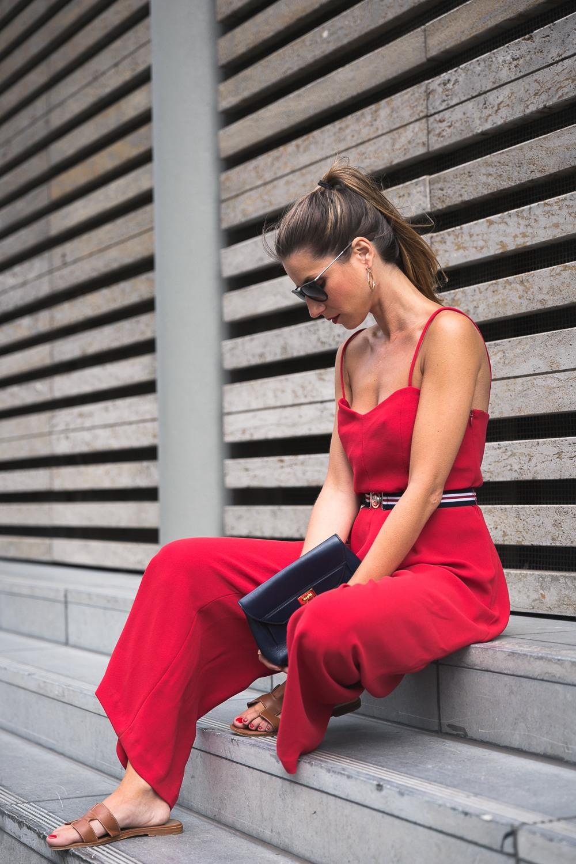 Claudie Pierlot Red Jumpsuit & Hermès Sandals