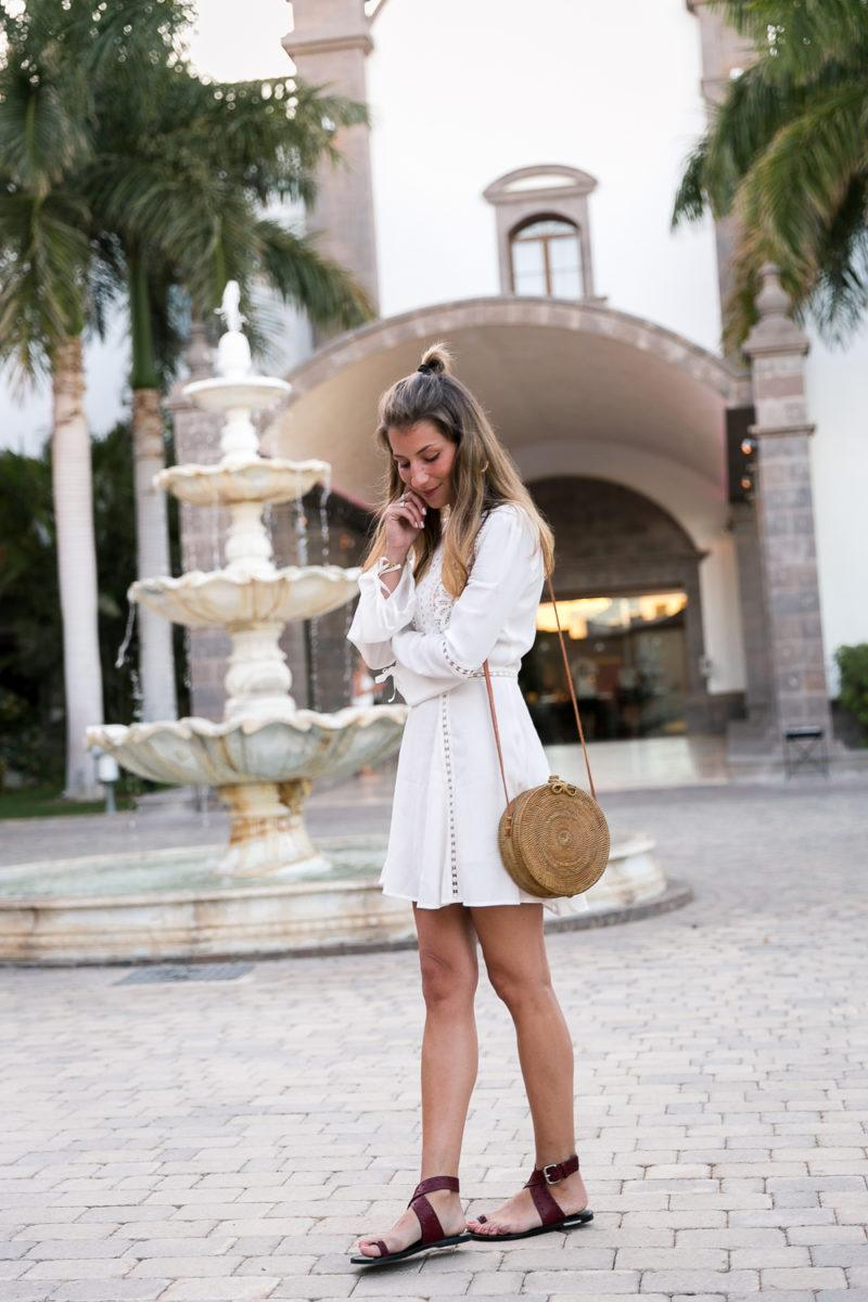 round bali bag straw summer dress white chicwish isabel marant sandals outfit 2017 trends fashion blog