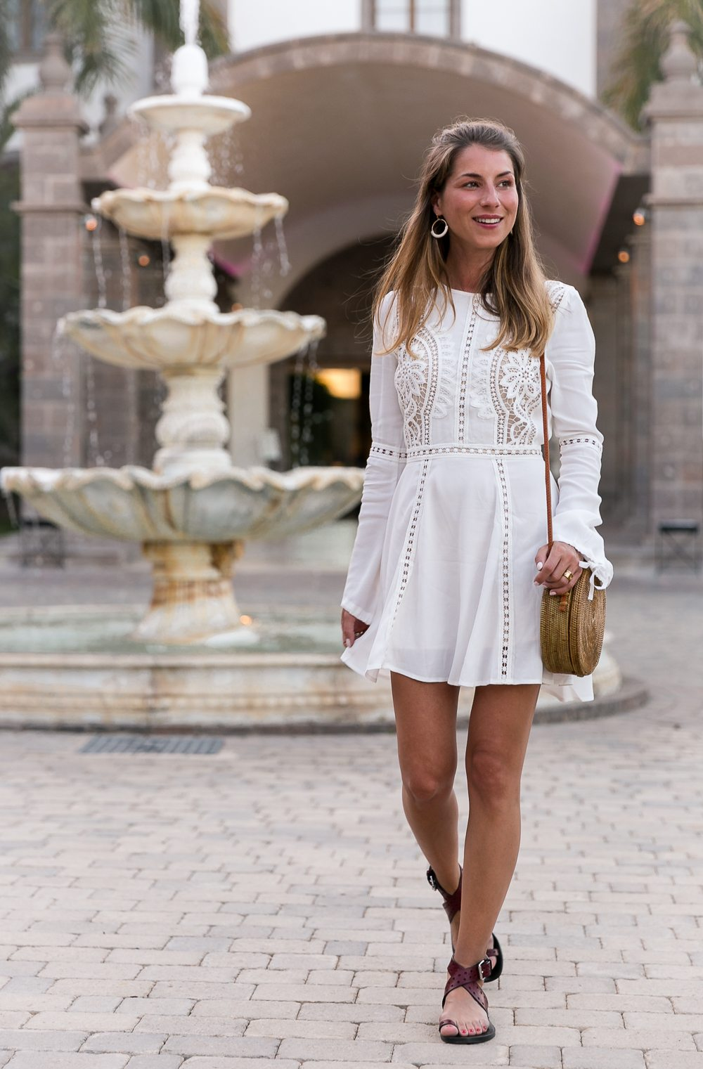 White Lace Dress & Round Bali Bag