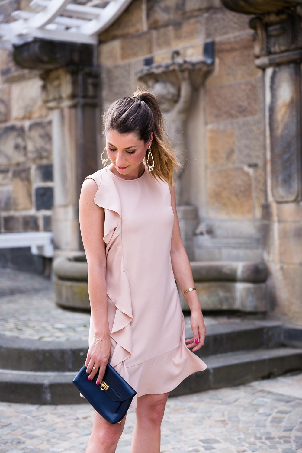 Pink Volant Dress & Statement Earrings