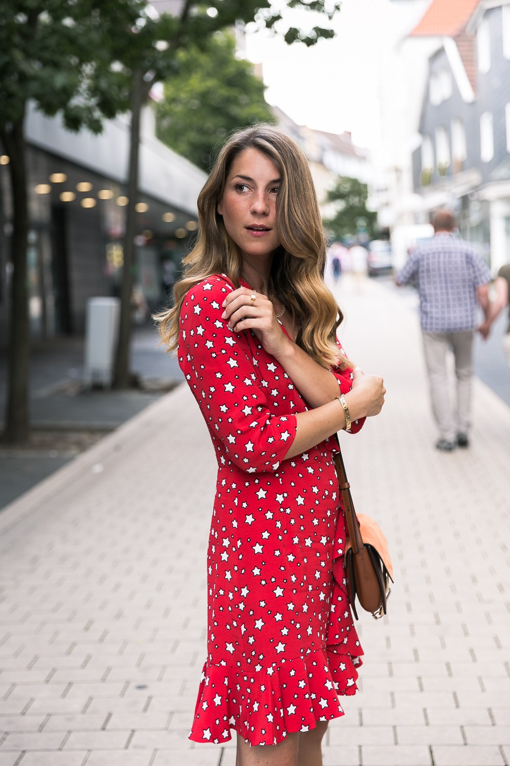 claudie pierlot wrap dress red stars fashion blog chloe faye hermes oran sandals