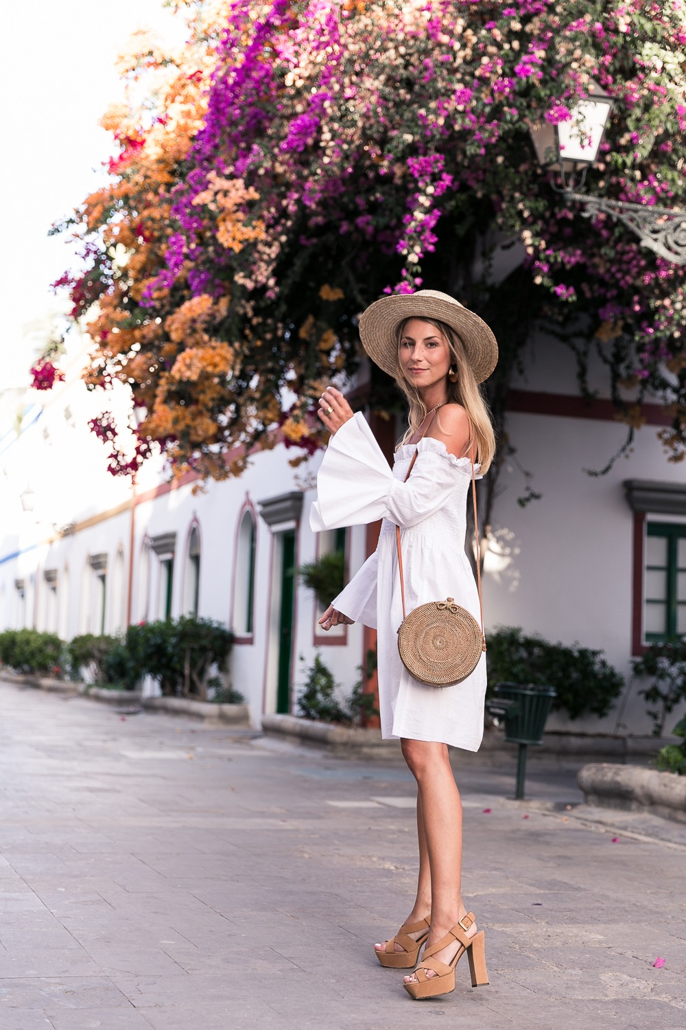 White Off-Shoulder Dress & Round Ata-Bag