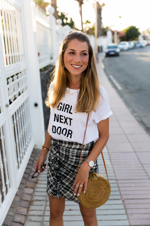 Statement T-Shirt & Checkered Skirt