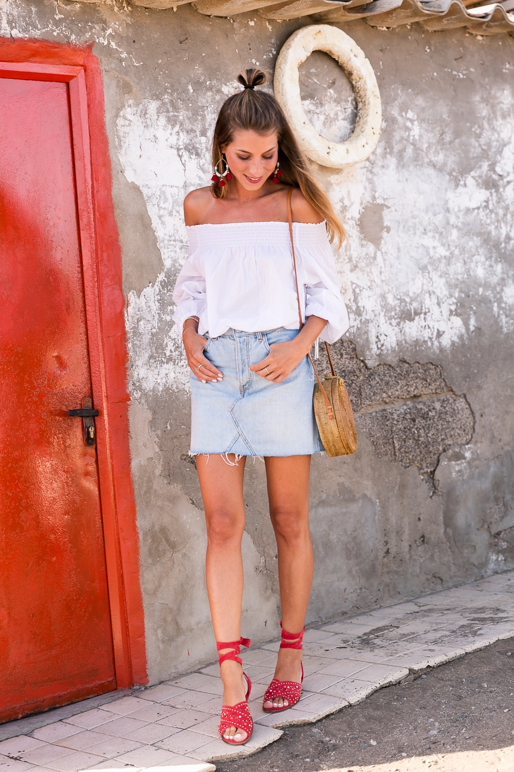 red shoes outfit jeans skirt denim off the shoulder top straw bag summerlook fashionblog