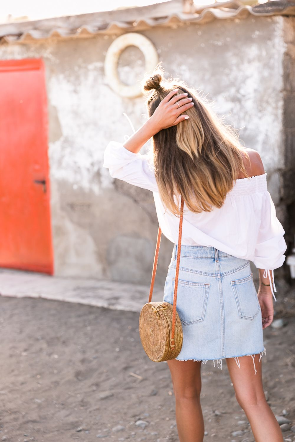red shoes outfit jeans skirt denim off the shoulder top straw bag summerlook fashionblog 9
