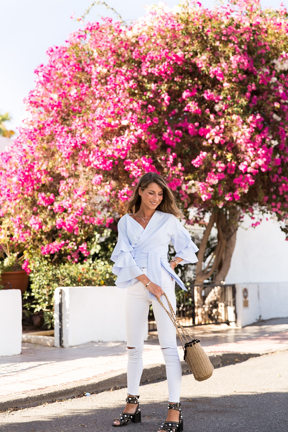 Wrap Blouse, white jeans, studded sandals & the pink tree