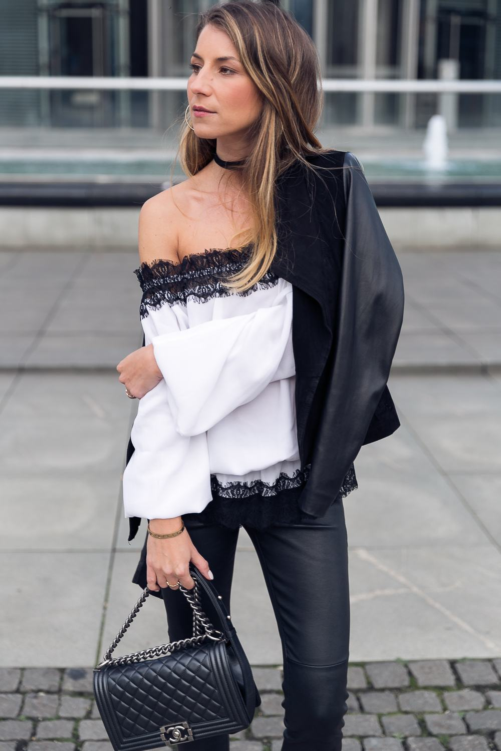 Evening Outfit :: Off Shoulder Blouse & Leather Pants