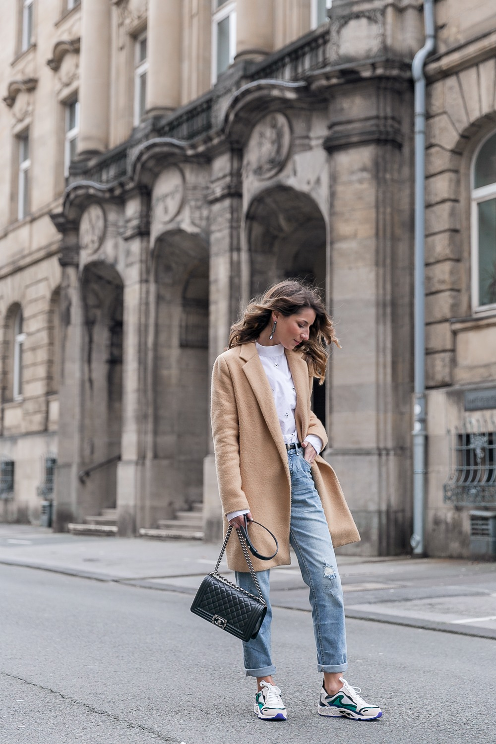 sandro sneakers girlfriend jeans coat zara outfit autumn street style casual chic blouse chanel bag