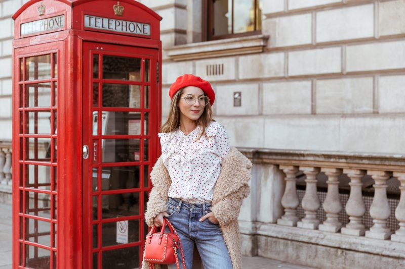 teddy coat levis 501 jeans red hat steffen schraut blouse hearts red valentino bag outfit street style london white boots veja du street style