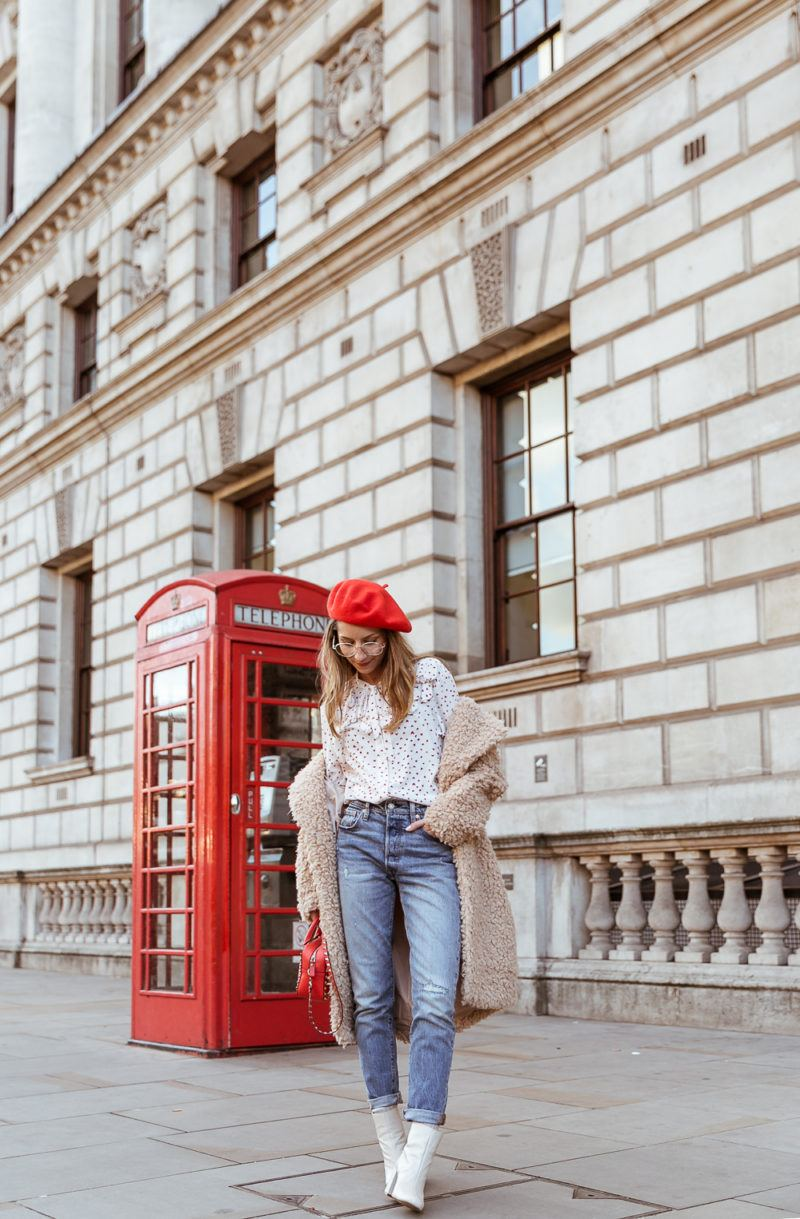 teddy coat levis 501 jeans red hat steffen schraut blouse hearts red valentino bag outfit street style london white boots veja du street wear