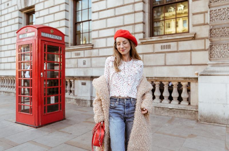 teddy coat levis 501 jeans red hat steffen schraut blouse hearts red valentino bag outfit street style london white boots veja du street fashion