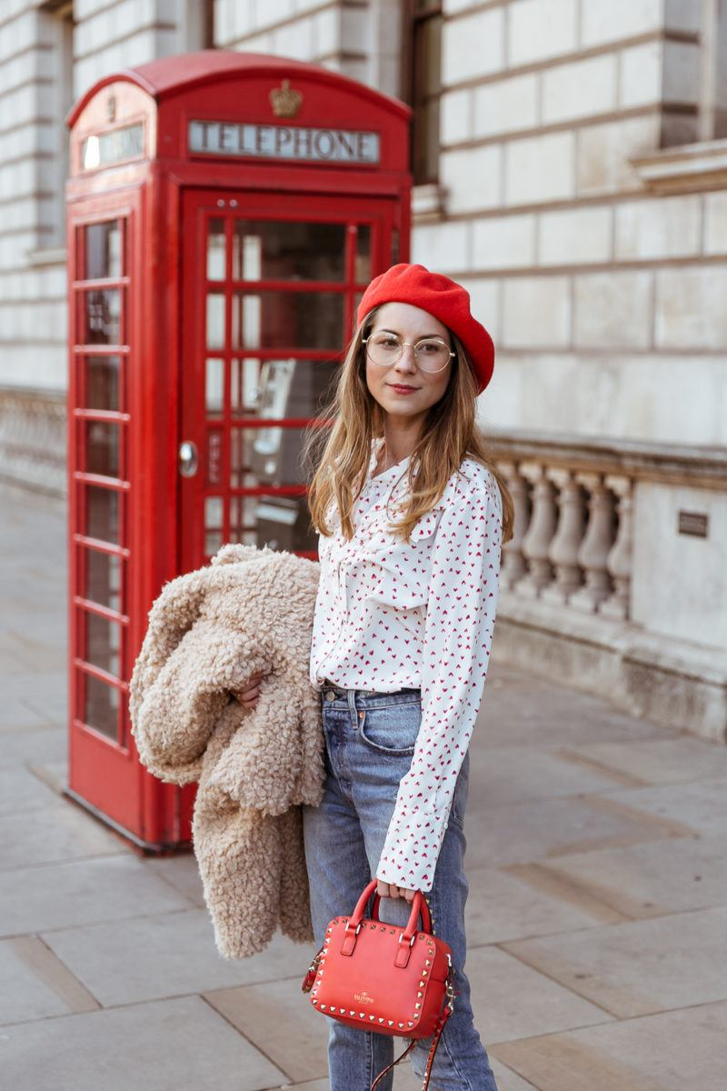 teddy coat levis 501 jeans red hat steffen schraut blouse hearts red valentino bag outfit street style london white boots veja du fashion