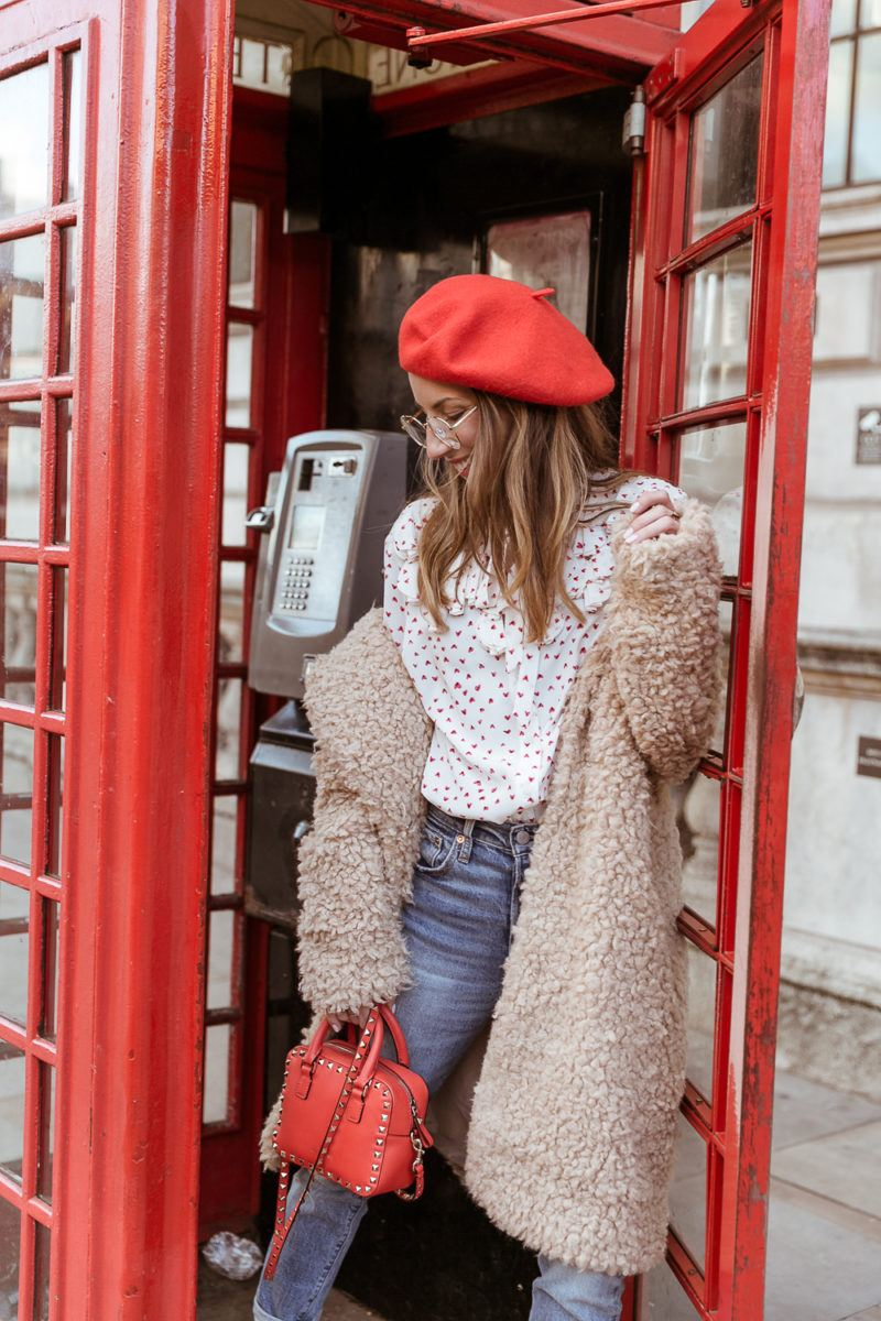 teddy coat levis 501 jeans red hat steffen schraut blouse hearts red valentino bag outfit street style london white boots veja du phone cell