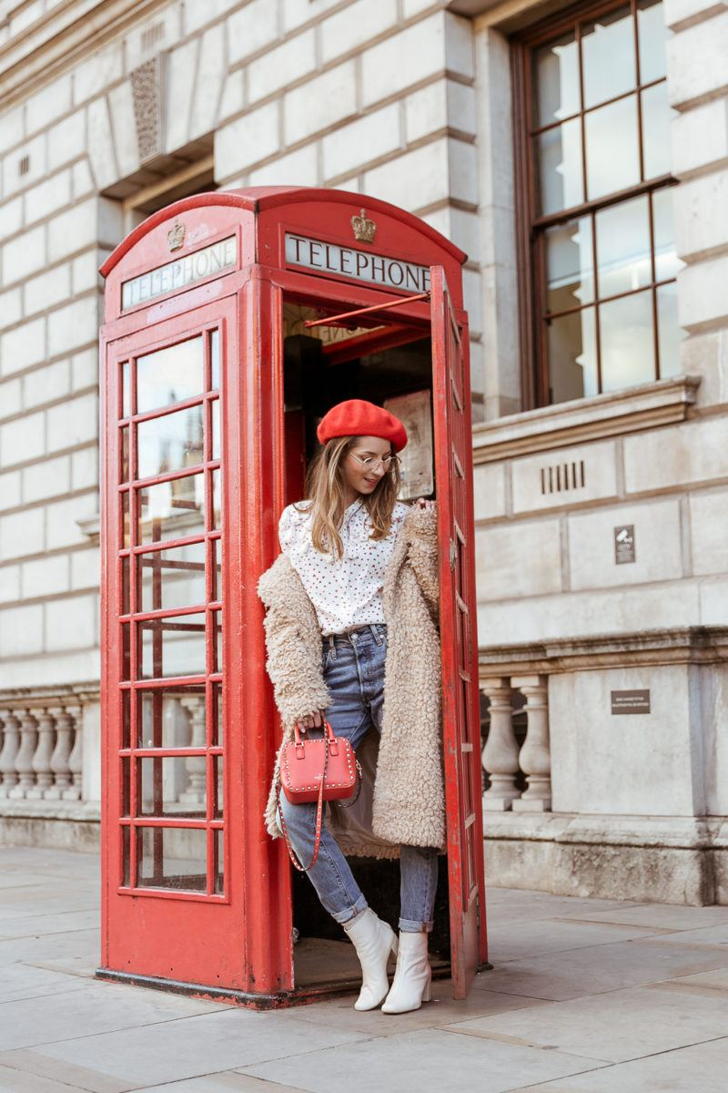 teddy coat levis 501 jeans red hat steffen schraut blouse hearts red valentino bag outfit street style london white boots veja du red phone cell