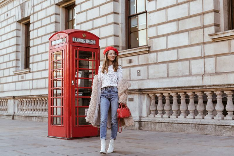 teddy coat levis 501 jeans red hat steffen schraut blouse hearts red valentino bag outfit street style london white boots veja du 5