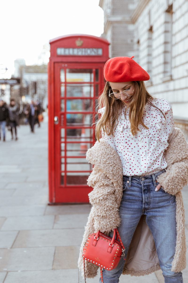 teddy coat levis 501 jeans red hat steffen schraut blouse hearts red valentino bag outfit street style london white boots veja du fashion blogger