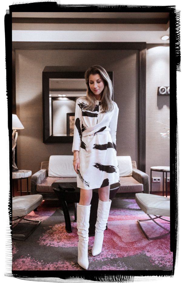 white boots outfit inspiration dress chic elegant style fashionblog steve madden 4