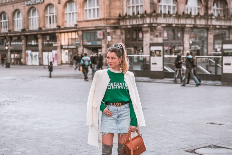outfit gucci gürtel overknees grau sandro pullover mantel street style fashion blog essen stadt 16