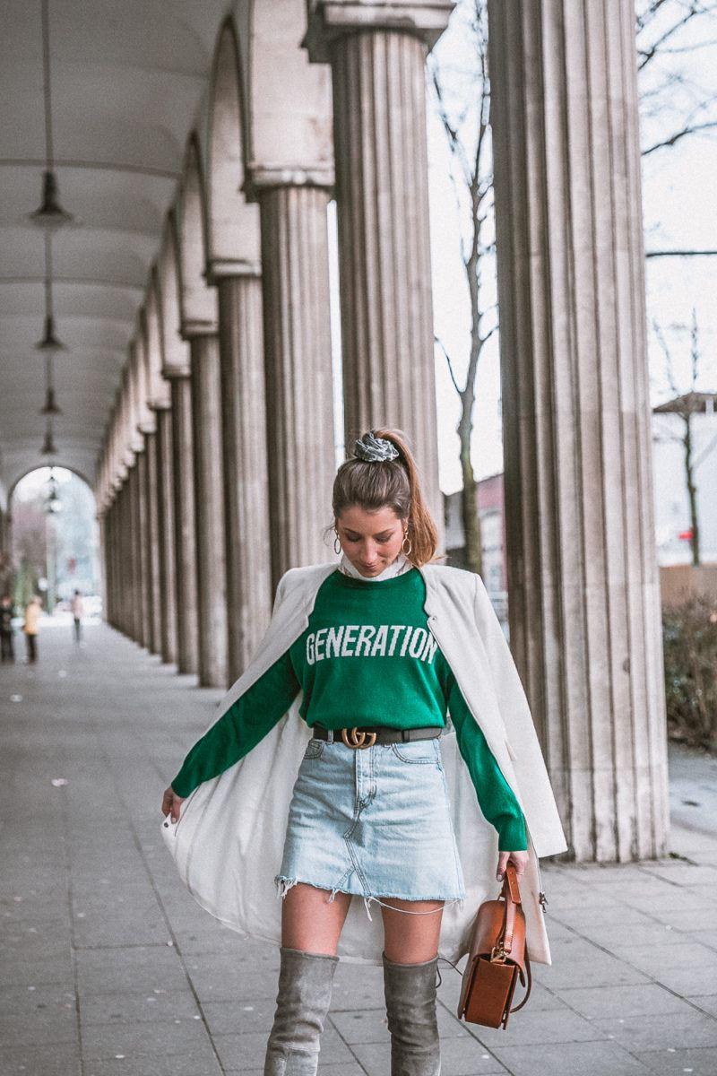 outfit gucci gürtel overknees grau sandro pullover mantel street style fashion blog essen stadt 28