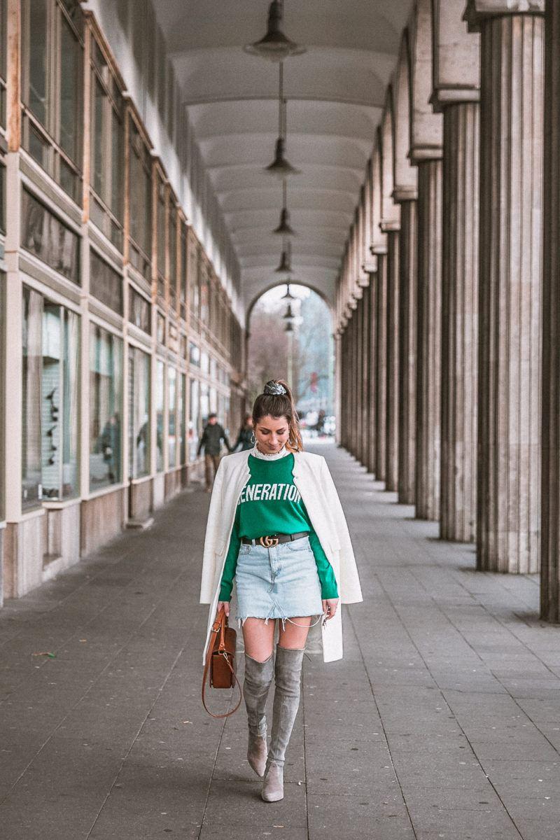 outfit gucci gürtel overknees grau sandro pullover mantel street style fashion blog essen stadt 37