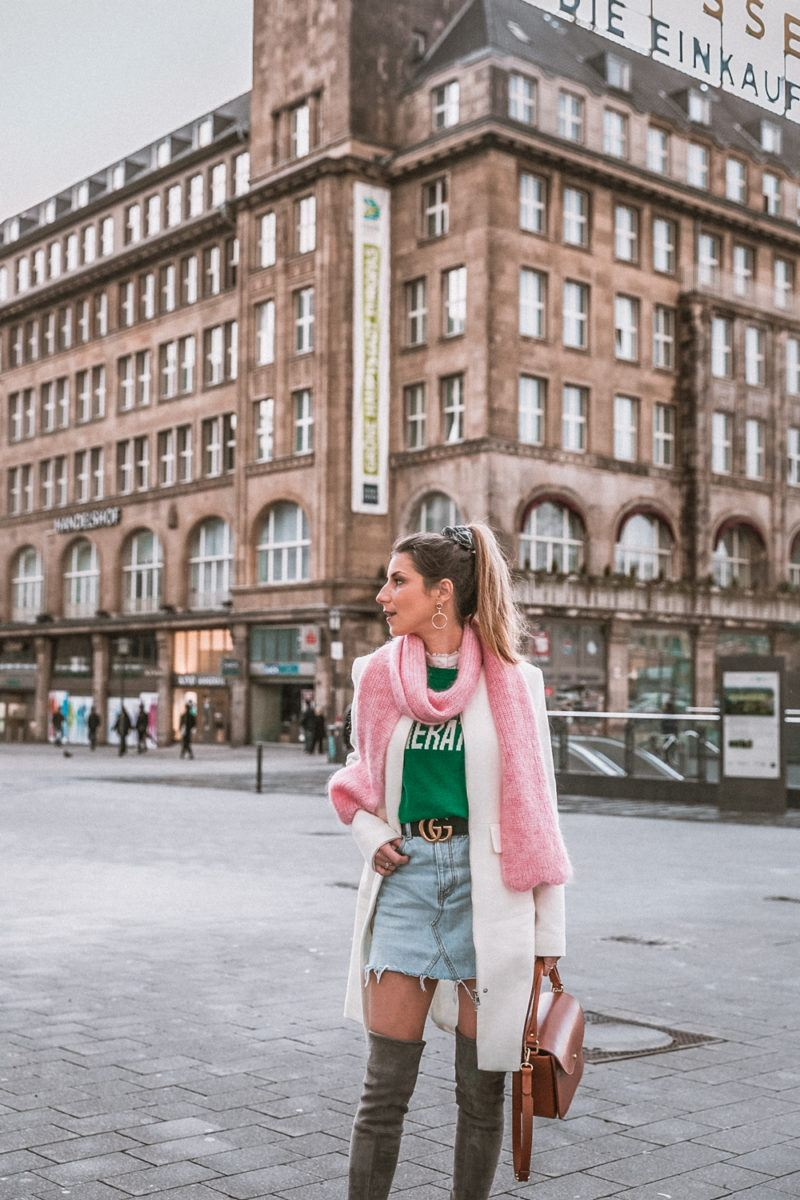 pink and green street style winter outfit overknees gucci belt blog