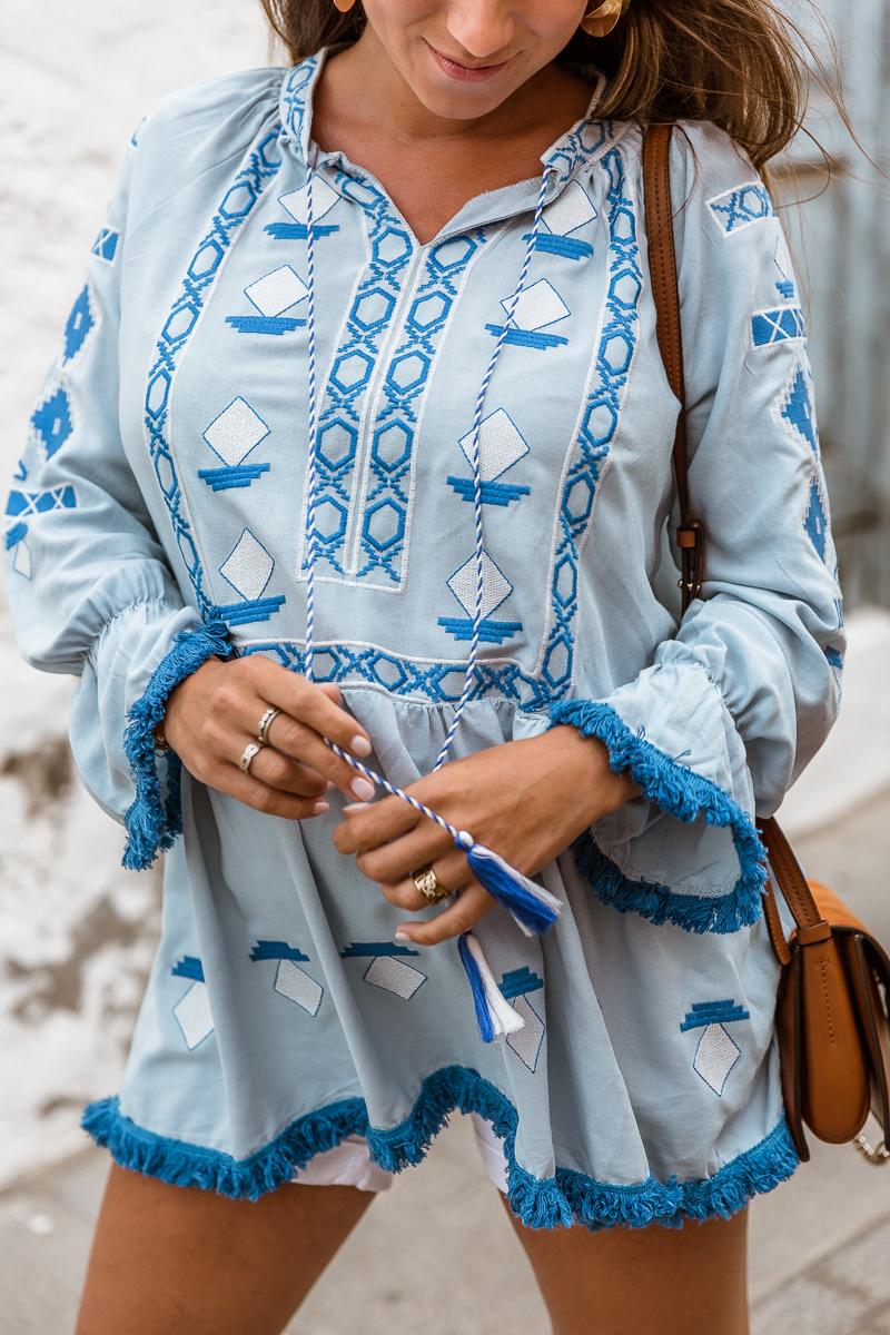 tunika blau sommer outfit inspiration schwanger blogger veja du details