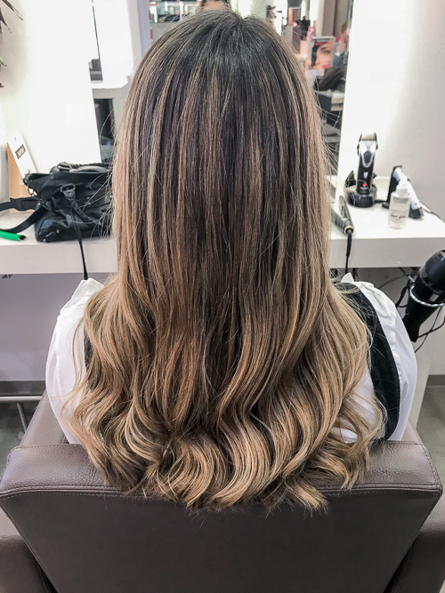 calligraphy cut balayage wellen friseur essen olivers hair blog highlights haare braun bruenett